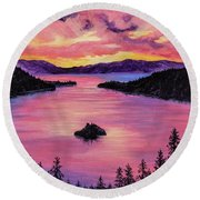 Emerald Bay Sunset Round Beach Towel