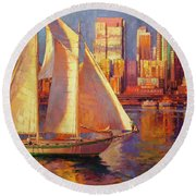 Emerald City Twilight Round Beach Towel
