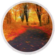Emmaus Community Park Path - Colors Of Fall Round Beach Towel