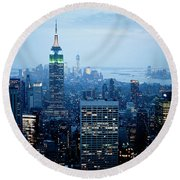 Empire In Blue Round Beach Towel
