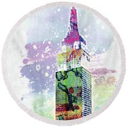 Empire State Building Colorful Watercolor Round Beach Towel
