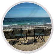 Empty Chairs Round Beach Towel