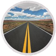Empty Highway Round Beach Towel