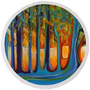 Enchanted Forest Fairy Tales Round Beach Towel