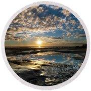 Encinitas Sunset Landscape Format Round Beach Towel
