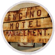 Round Beach Towel featuring the photograph Encino Hotel by Lou Novick