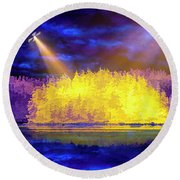 Round Beach Towel featuring the photograph Encounter by Mike Braun