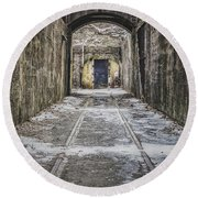 Round Beach Towel featuring the photograph End Of The Tracks by Steve Stanger