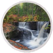 Round Beach Towel featuring the photograph Enders Falls Autumn 2 by Bill Wakeley