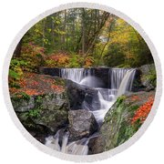 Round Beach Towel featuring the photograph Enders Falls Autumn 2018 by Bill Wakeley