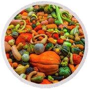 Endless Autumn Gourds Round Beach Towel