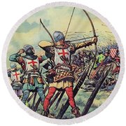 English Bowmen At The Battle Of Crecy Round Beach Towel