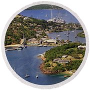 Round Beach Towel featuring the photograph English Harbour by Tony Murtagh