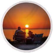 Enjoying The Sunset Round Beach Towel