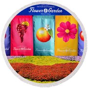 Epcot 2019 Ifgf Banners And Flowers Round Beach Towel