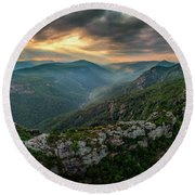 Epic Linville The Chimneys Round Beach Towel