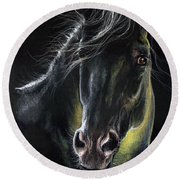 Equine Portrait 2019 03 31 Round Beach Towel
