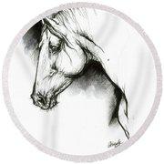 Equine Sketch 2019 04 28 B Round Beach Towel
