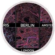 European Capital Cities Maps Round Beach Towel