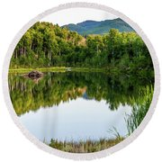 Round Beach Towel featuring the photograph Evening At Ivie Pond by TL Mair