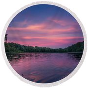 Evening At Springfield Lake Round Beach Towel