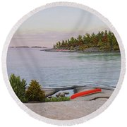Round Beach Towel featuring the painting Evening Calm II by Kenneth M Kirsch