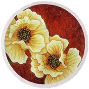 Round Beach Towel featuring the painting Evening Embers by Amy E Fraser