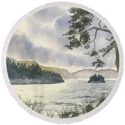 Evening On Derwentwater Round Beach Towel