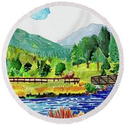 Round Beach Towel featuring the painting Evergreen Lake Spring Watercolor by Dan Miller
