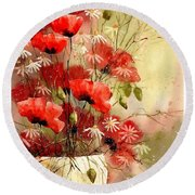 Everything About Poppies IIi Round Beach Towel