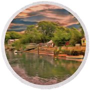 Round Beach Towel featuring the photograph Everything That I Love About The River by Leigh Kemp