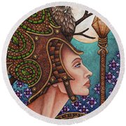 Exalted Beauty Athena Round Beach Towel