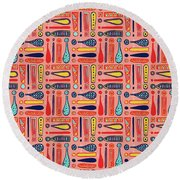 Exclamations Pattern Round Beach Towel