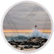 Explosive Sea 1 Round Beach Towel