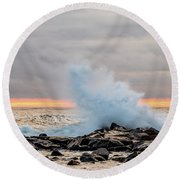 Explosive Sea 3 Round Beach Towel
