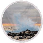 Explosive Sea 4 Round Beach Towel