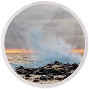 Explosive Sea 4 Round Beach Towel