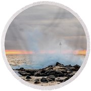 Explosive Sea 5 Round Beach Towel