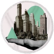 Exquisite Buildings On Palm Round Beach Towel