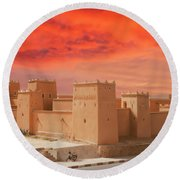 Exterior Buildings Of Kasbah Taourirt Round Beach Towel