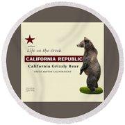 Extinct California Grizzly Bear Round Beach Towel