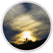 Round Beach Towel featuring the photograph Exuberant Sun Pillar by Judy Kennedy