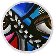 Eye Art Painting Abstract Chromatic Painting Electric Energy Artwork Round Beach Towel