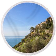 Eze Village At French Riviera In France Round Beach Towel