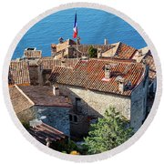 Eze Village Houses And The Sea Round Beach Towel