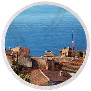 Eze Village Houses And The Sea In France Round Beach Towel
