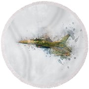 F16 Fighting Falcon Round Beach Towel