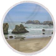 Round Beach Towel featuring the photograph Face Rock Trail, Bandon Beach, Oregon by Dawn Richards