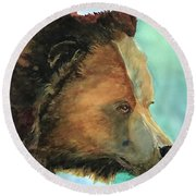 Face To Face Bear Round Beach Towel