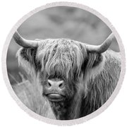 Face-to-face With A Highland Cow - Monochrome Round Beach Towel